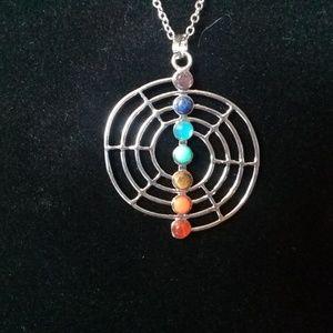 Chakra web necklace